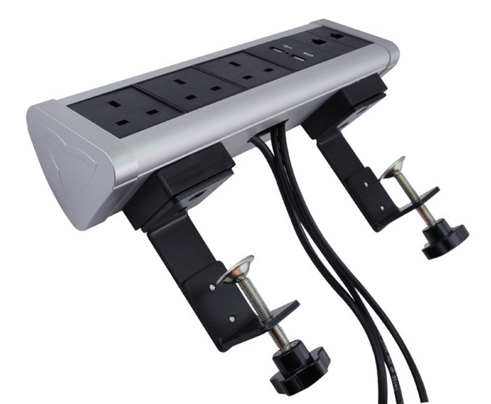 Silver Color USB Power Strip , 250V Mountable Power Strip Clamp On Mounted