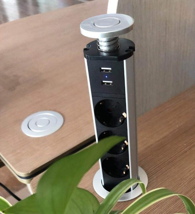 European Standard Office Pop Up Socket / Hidden USB Desktop Socket